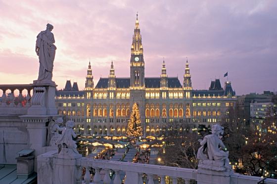 Wien, Ringstrasse, Rathaus, Adventzauber
